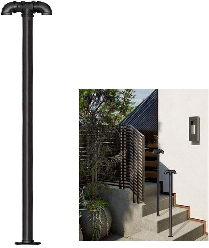 Barandilla antideslizante de seguridad tipo T, tubo de acero galvanizado negro de alta calidad, base de brida de hierro, adecuados para instalación en porche o protección de plataforma