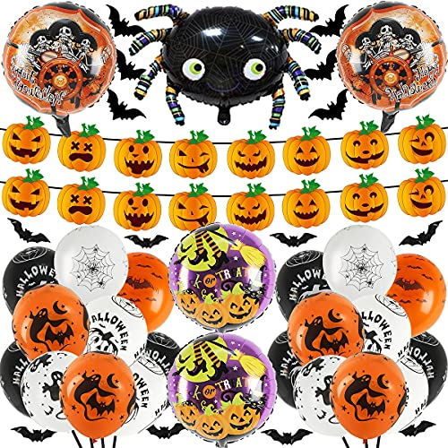 50 Pcs Halloween Party Supplies, Pumpkin banner Black Orange Confetti Balloons with Mylar Spider Balloon for Kids Halloween Theme Party Background Classroom Decorations