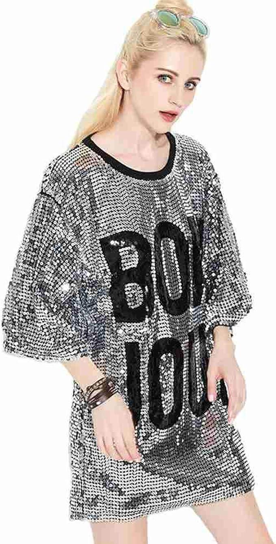 P&R Sparkle Glitter Sequins Hip Hop Jazz Dancing T-Shirt Dress Plus Size  Clubwear