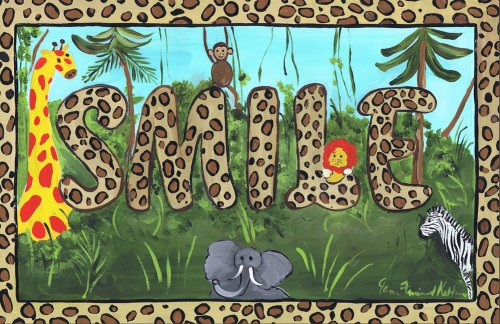 The Kids Room by Stupell Leopard Print Smile with Safari Animals Rectangle Wall Plaque ()