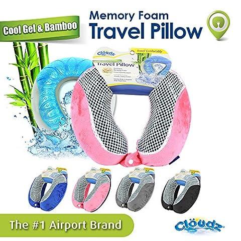 Cloudz Cool Gel & Bamboo Memory Foam Travel Pillow - Pink