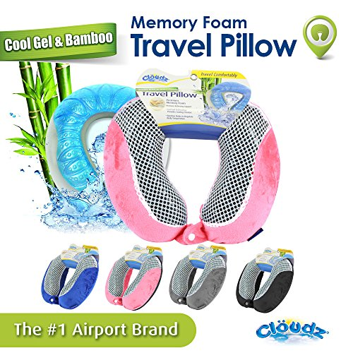 Cloudz Cool Gel & Bamboo Memory Foam Travel Neck Pillow - Pink