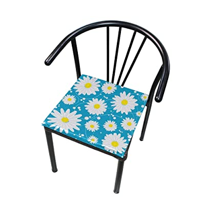 """Bardic HNTGHX Outdoor/Indoor Chair Cushion Daisy Floral Flower Square Memory Foam Seat Pads Cushion for Patio Dining, 16"""" x 16"""": Home & Kitchen"""