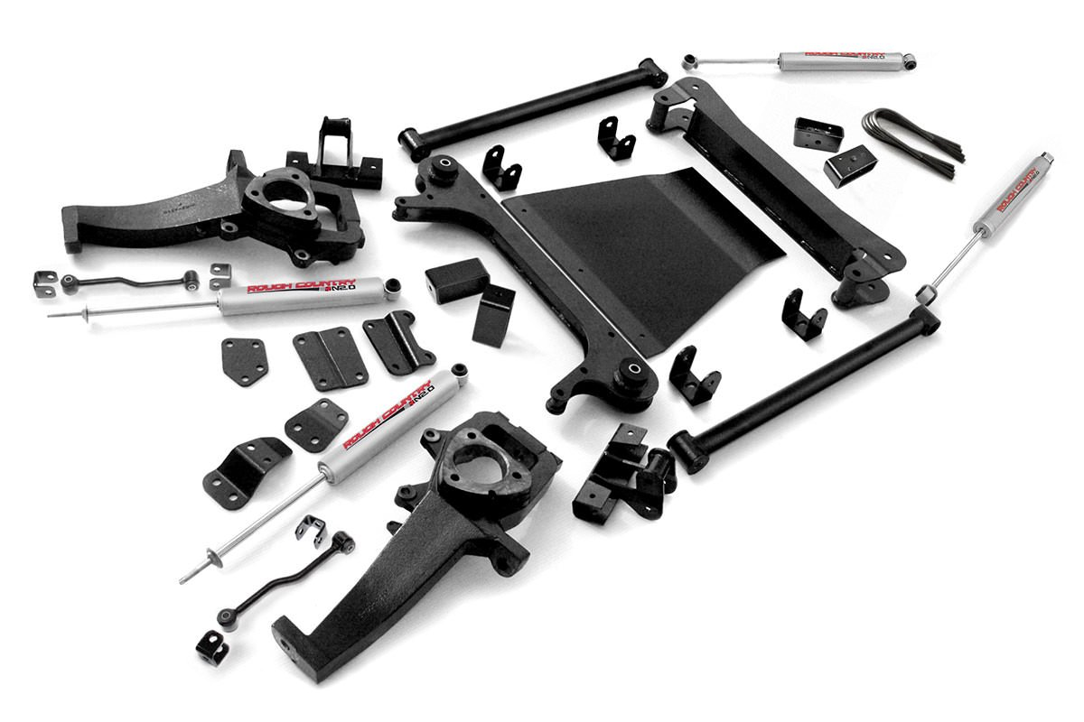 Rough Country - 380.20 - 4-5-inch X-Series Suspension Lift Kit (2-inch Rear Blocks) w/ Premium N2.0 Shocks for Dodge: 02-05 Ram 1500 4WD