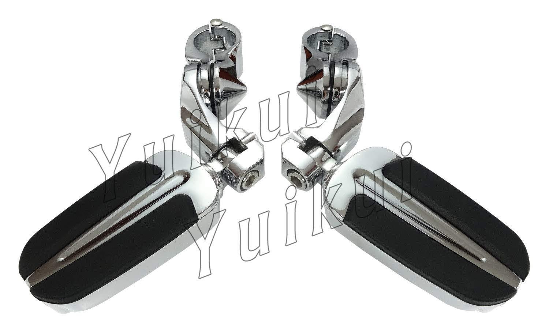 YUIKUI RACING オートバイ汎用 1-1/4インチ/32mmエンジンガードのパイプ径に対応 ハイウェイフットペグ タンデムペグ ステップ TRIUMPH ROCKET 3等適用   B07NNH98QX