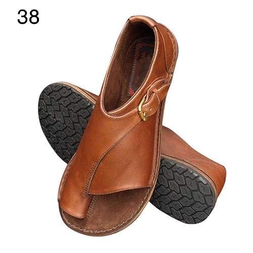 Lacyie Mujeres Plat Sandalias Corpiño Corrector de juanete Big Toe Straightener Zapatos de Playa de Verano cómodos: Amazon.es: Zapatos y complementos