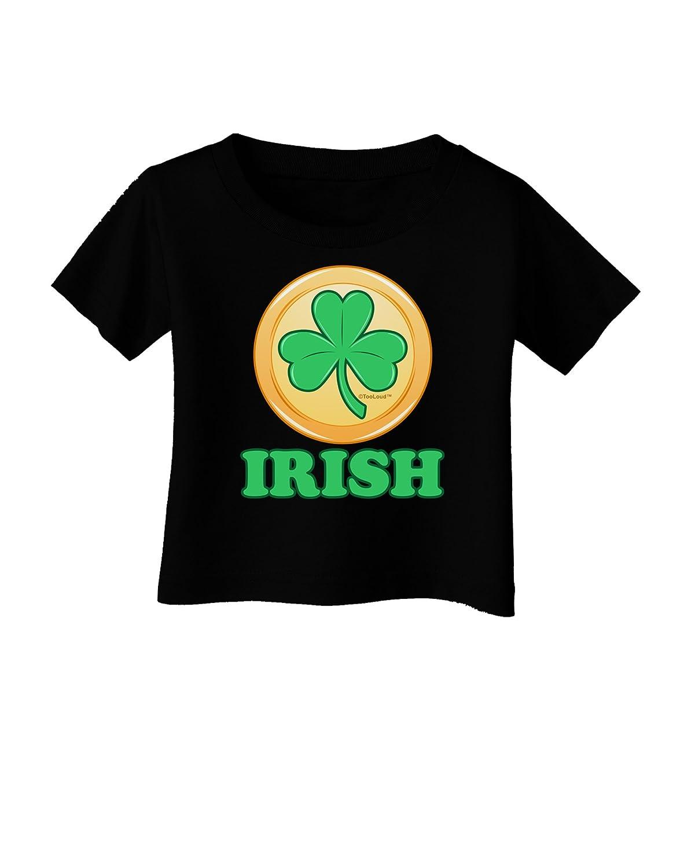 TooLoud Shamrock Button Irish Infant T-Shirt Dark