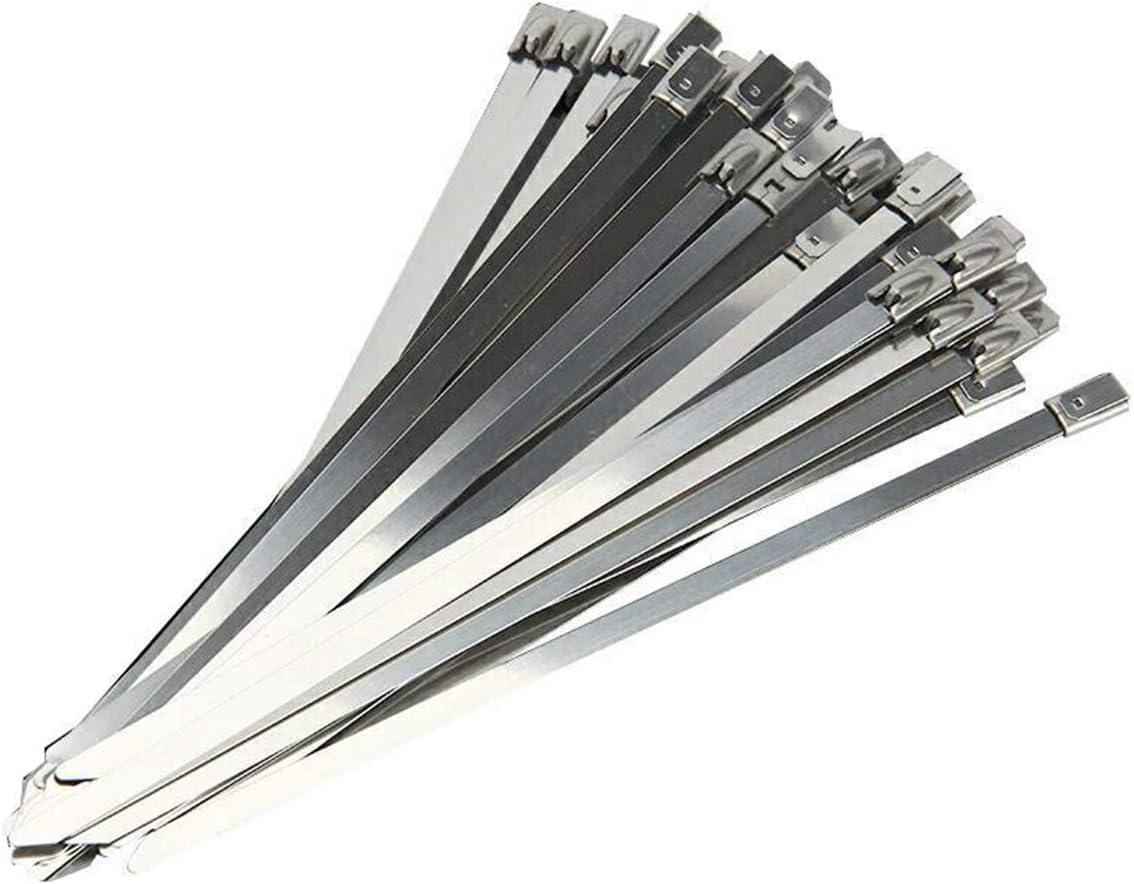 100 Piezas de Cable de Acero Inoxidable Bridas metálicas Lazos con Cierre automático Cable de conexión de Cable 4.6 x 100 mm Plata