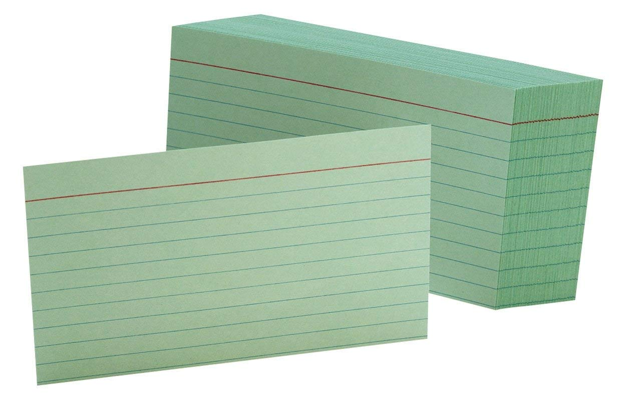Oxford Ruled Color Index Cards, 3'' x 5'', Green, 100 Per Pack (7321 GRE), 10 PACK