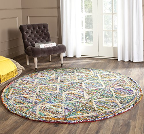 Round Nantucket Rug (Safavieh Nantucket Collection NAN440A Handmade Abstract Geometric Diamond Multicolored Cotton Round Area Rug (4' Diameter))
