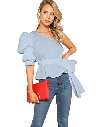 17382b06bc6be Romwe Women's One Shoulder Short Puff Sleeve Self Belted Solid Blouse Top  Blue X-Small
