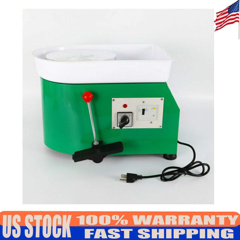 DONSU Pottery Wheel 25cm Pottery Forming Machine 350W Electric Pottery Wheel with Adjustable Feet Lever Pedal DIY Clay Tool with Tray for Ceramic Work Clay Art DIY Art Craft (Green) by DONSU