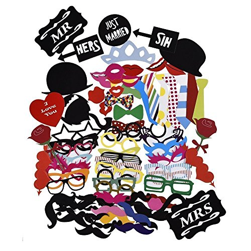[88Pcs Photo Booth Props DIY Kit for Wedding Party Reunions Birthdays Photobooth Dress-up Accessories & Party Favors, Costumes with Mustache on a stick, Hats, Glasses, Mouth, Bowler,] (Hat Costumes Accessory)
