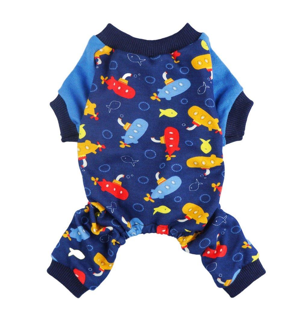 Fitwarm Soft Cotton Adorable Submarine Dog Pajamas Pet Clothes Shirts PJS, Blue, XS