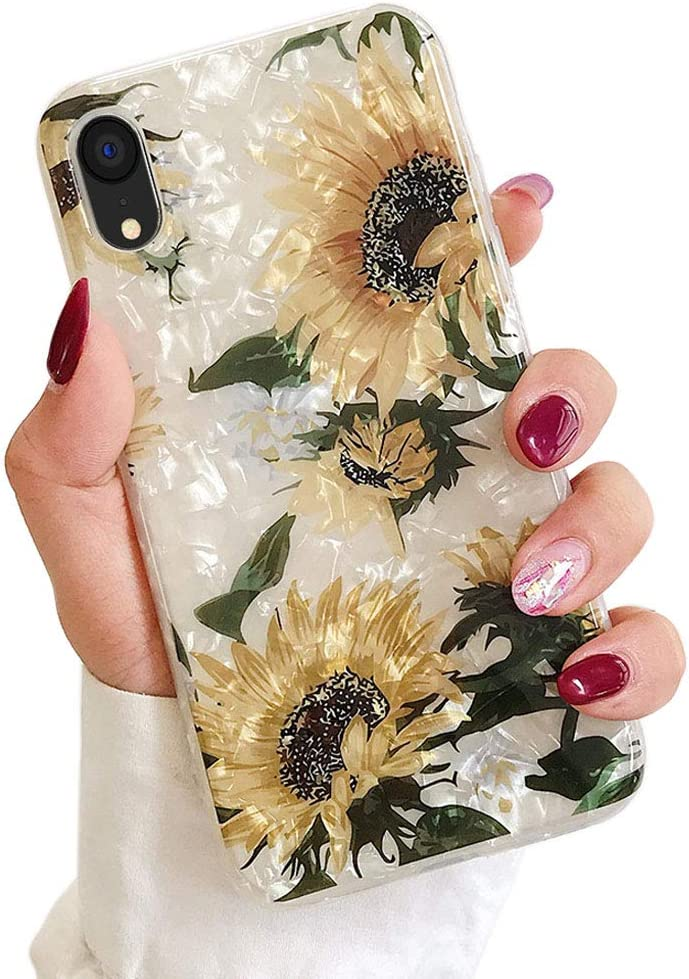 Qokey Case for iPhone XR,iPhone XR Cases for Girls Women Cute Pattern Sparkle Crystal Clear Soft Bumper Lightweight TPU Anti-Scratch Phone Cover for iPhone XR 6.1 inch Sunflowers