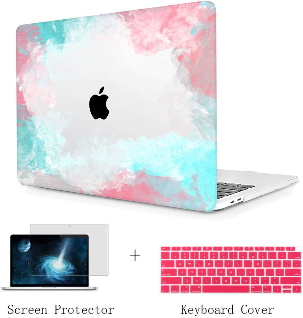 TwoL Print Hard Shell Case and Keyboard Cover Screen Protector for New MacBook Air 13 inch 2018-2020 Release Model:A1932 A2179 with Retina Display Colorful Cloud