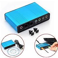 MOOUS Tarjeta de Sonido Externa Azul de 6 Canales 5.1 Sonido Envolvente USB 2.0 óptico Externo S/PDIF,Adaptador de Tarjeta de Sonido de Audio para PC Portátil