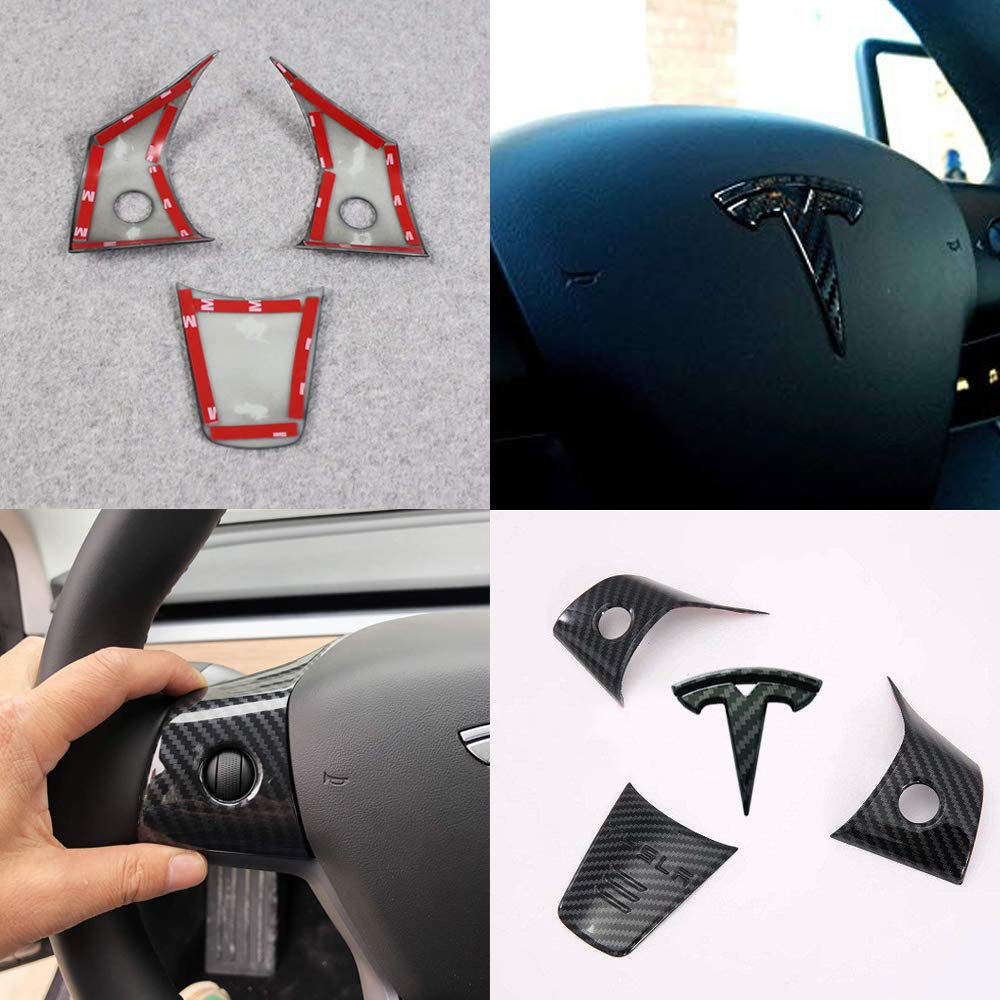 Black Carbon Fiber Pattern CoolKo Steering Wheel Decoration Covers and T Emblem Logo Compatible with Model 3
