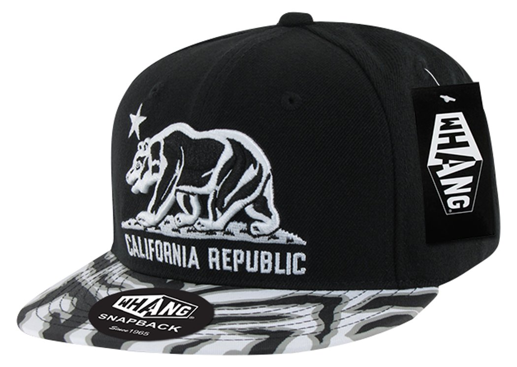 b7f47a8e Amazon.com: WHANG Ziger Cali Bear Snapbacks, Black: Sports & Outdoors