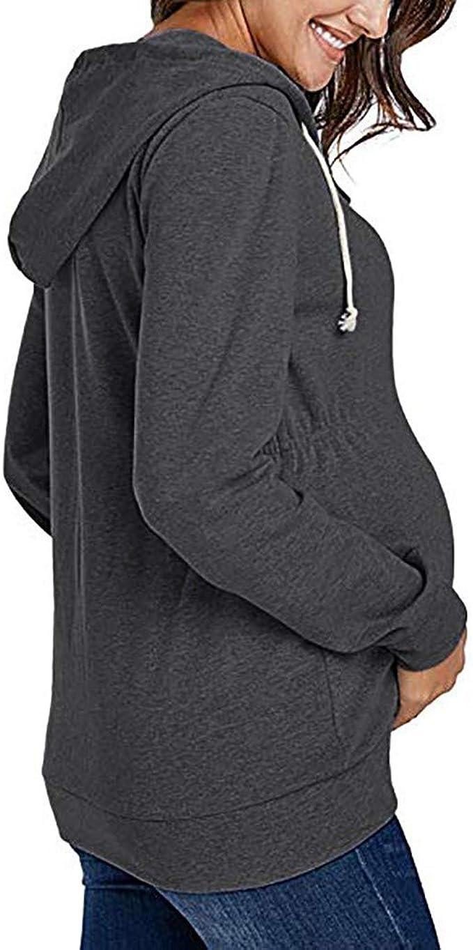 Frauen Umstandstunika Mamma Womens T-Shirt S-XXL Battnot Damen Umstandsmode Blusen Sommer Langarm Schwangerschaft Rei/ßverschluss Oberteil Sweatshirts /Übergangsjacke Hoodie Mutterschafts Umstandstop