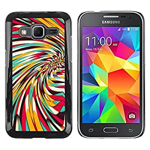 iKiki Tech / Estuche rígido - Vortex Whirl Abstract Lines Teal Yellow Pattern - Samsung Galaxy Core Prime SM-G360