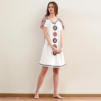 Pijamas ZHAOJING Sra. Verano de manga corta de algodón modal estilo étnico sexy moda camisón