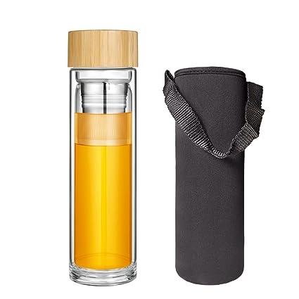 Botella Té Cristal Agua Vidrio Infusión Tetera Infusión Té Tapa Bambú Sin Bpa Teteras Émbolo Infusor