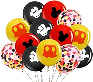Mickey Mouse Balloons,40Pcs 12 Inch Red Black Yellow Mickey Color Confetti Balloons Kit for Baby Bbay Baby Shower Mickey Mouse Theme Party Supplies Mickey Mouse Kids Birthday Decorations with Ribbon