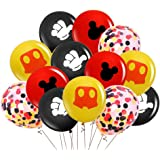 Mickey Mouse Balloons,40Pcs 12 Inch Red Black Yellow Mickey Color Confetti Balloons Kit for Baby Bbay Baby Shower Mickey…