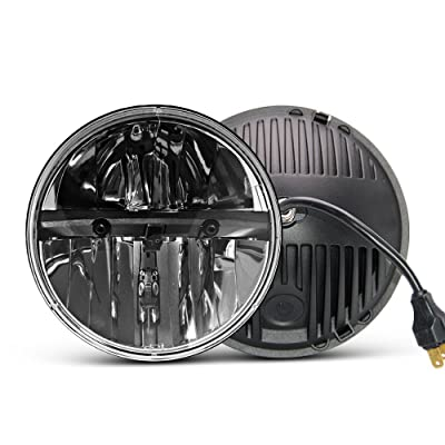 7 inch LED Headlight Round 2PCS E-MARK Approved 6000K Hi/lo Beam lamp Halo, Uni-light J004-2pcs: Automotive