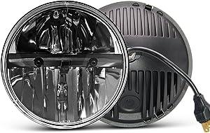 7 inch LED Headlight Round 2PCS E-MARK Approved 6000K Hi/lo Beam lamp Halo, Uni-light J004-2pcs