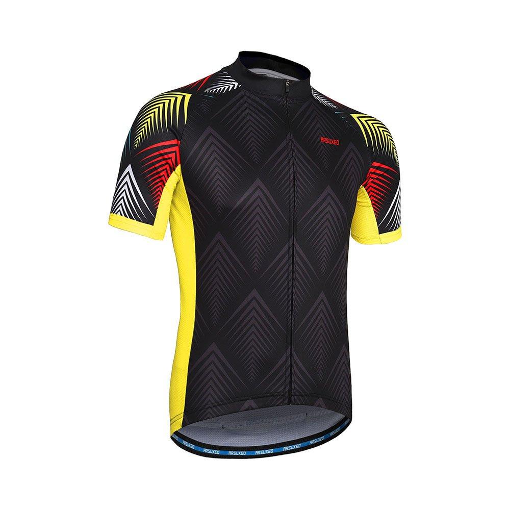 c0d811992e9 ARSUXEO Men s Cycling Jersey Short Sleeves Mountain Bike Shirt MTB Top  Zipper Pockets Reflective larger image