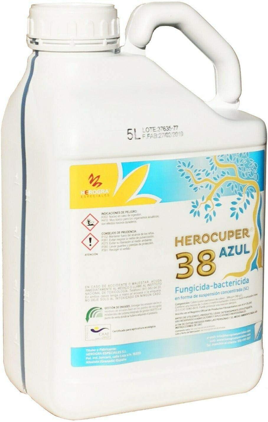 Fungicida bactericida natural contra las enfermedades fúngicas 38 AZUL (ECO) 5L Fungicida/bactericida de cobre 100% organico con accion preventiva y curativa