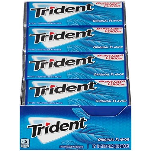 Trident Sugar Free Gum, Original Flavor, 18 Count (Pack of (Sugar Free Gum Packs)