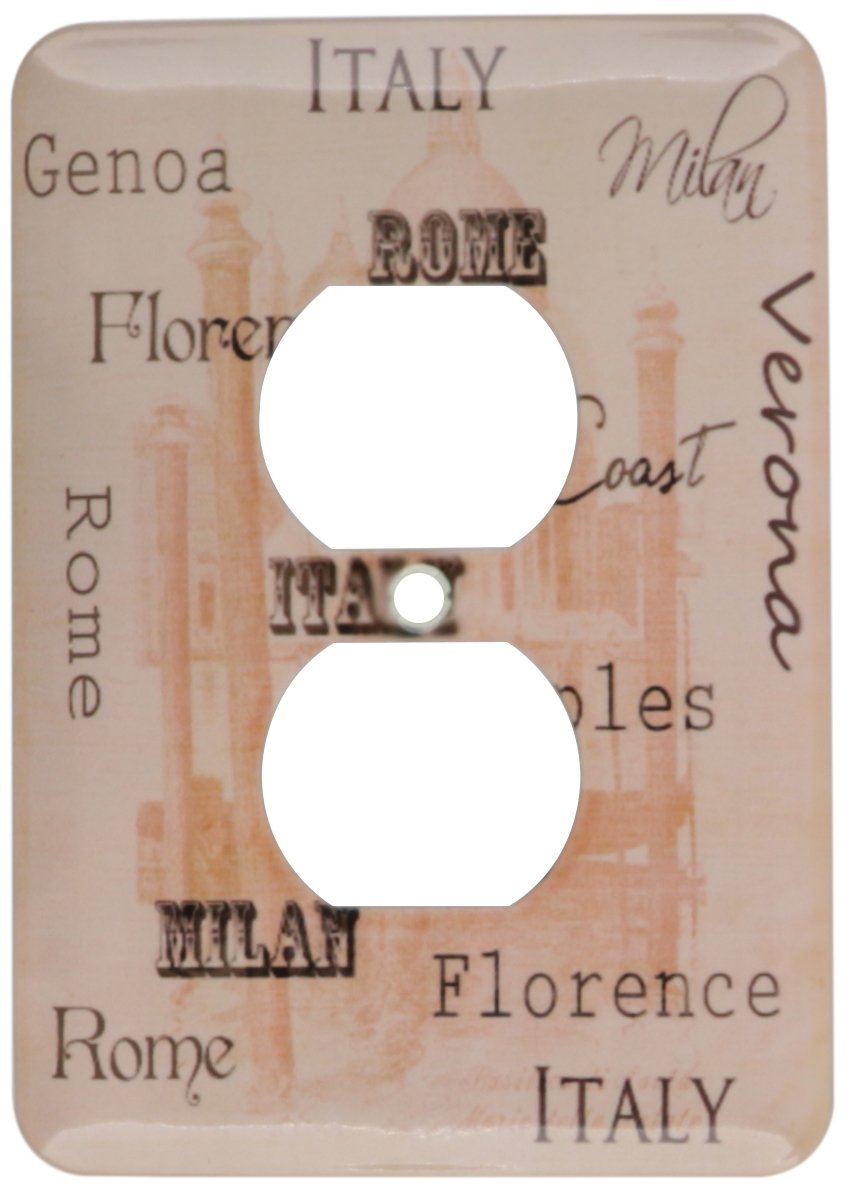 3dRose lsp_123296_6 Places In Italy Typography Vintage Art 2 Plug Outlet Cover