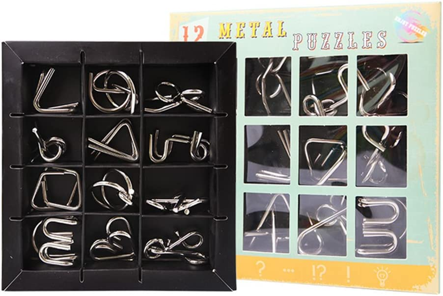 Gracelaza 12 Piezas Juguetes Mágicos de Alambre de Metal Set - 3D Rompecabezas Brain Teaser Puzzle - IQ Inteligencia Juguete Educativo - Juego Ideales y Regalos para Niños y Adolescentes