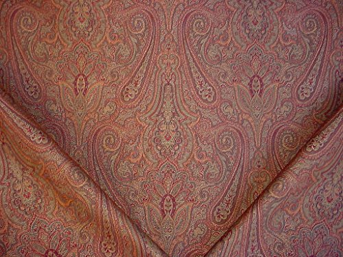 325H4 - Beautiful Crimson / Evergreen / Mocha Floral Paisley Medallion Brocade Jacquard To the Trade Designer Upholstery Drapery Fabric - By the Yard