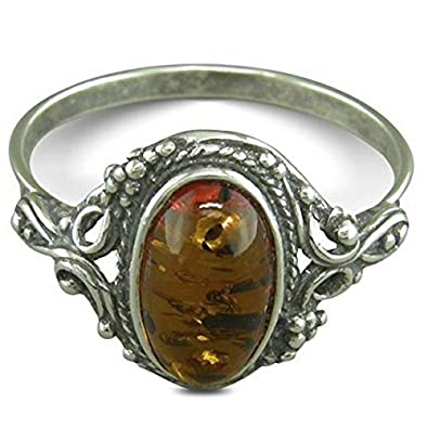 Vintage Oval Cognac Amber Sterling Silver Ring in Ornate Victorian Setting - Orange Brown Sizes L-R Available hBJHo