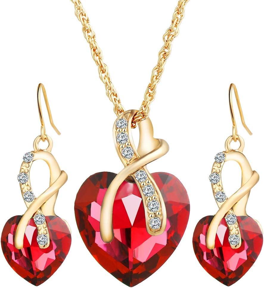 LTLWL Conjunto de Joyas, Incrustaciones de Piedras Preciosas de Cristal Colgante Pendientes de Collar En Forma de Corazón Conjunto,Rojo