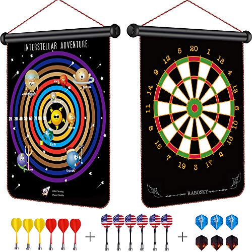 Rabosky New Gameplay Magnetic Dart Board for Kids, Interstellar Adventure Dart Game Set, Best Kids Toy Gift for Boys Indoor Outdoor Games, Include 12 Darts & 6 Extra Flights ()