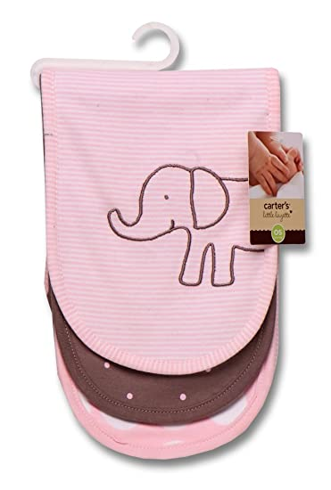 Carters 3 Piece Burp Cloth Set, Pink Elephant