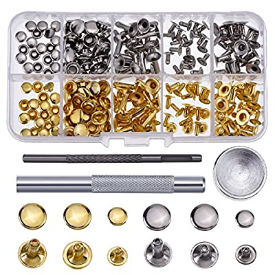 Hotop 120 Set Leather Rivets Single Cap Rivets Tubular Metal Studs with Fixing Tool Kit for Leather Craft Repairing Decoration, 3 Sizes