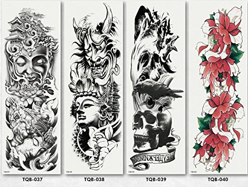Temporary Tattoos Full Arm Tattoo Body Stickers for Man Women 4 Sheets Style -