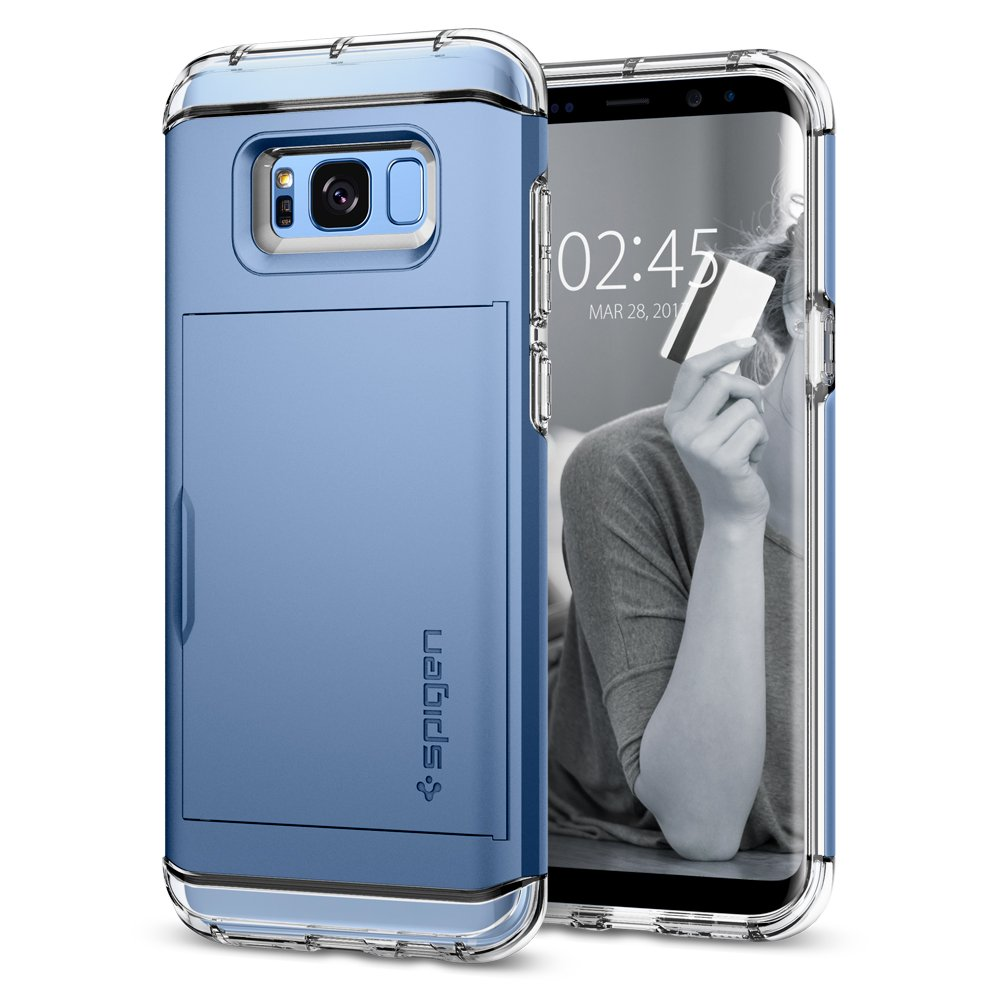 Spigen Crystal Wallet Galaxy S8 Case with Slim Dual Layer Wallet Design and Card Slot Holder for Galaxy S8 (2017) - Coral Blue