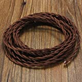 Vintage Electrical Wire, Elfeland 32.8ft 18/2 Twisted Rayon Covered Electric Cord, Antique Industrial Electrical Cloth Cord, for Retro Lamp, Pendant Light, DIY Projects, Brown