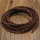 Vintage Electrical Wire - Elfeland 32.8ft 18/2 Twisted Rayon Covered Electric Cord - Antique Industrial Electrical Cloth Cord - for Retro Lamp, Pendant Light, DIY Projects - Brown