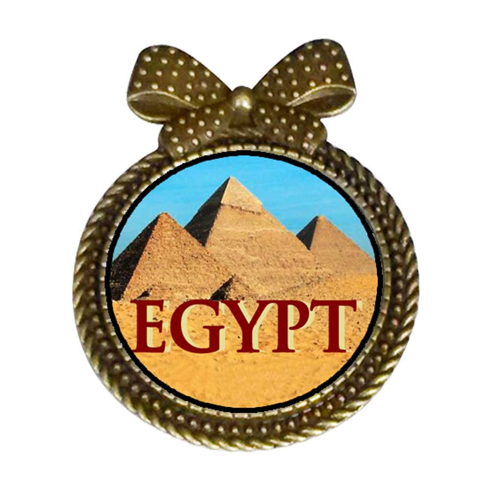 GiftJewelryShop Ancient Style Travel Egypt pyramids Round With Bowknot Pin Brooch #9