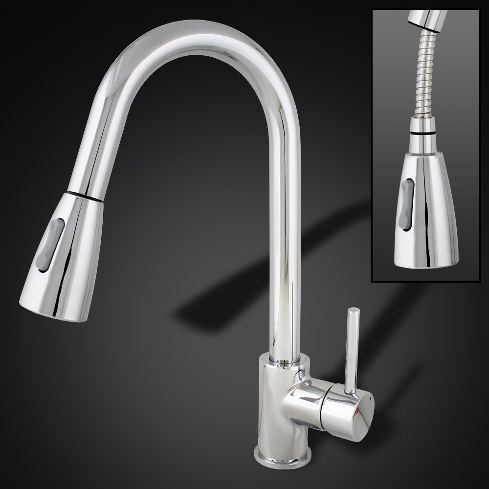 GotHobby Chrome Kitchen Sink Faucet Pull Out Spray Single Handle ...