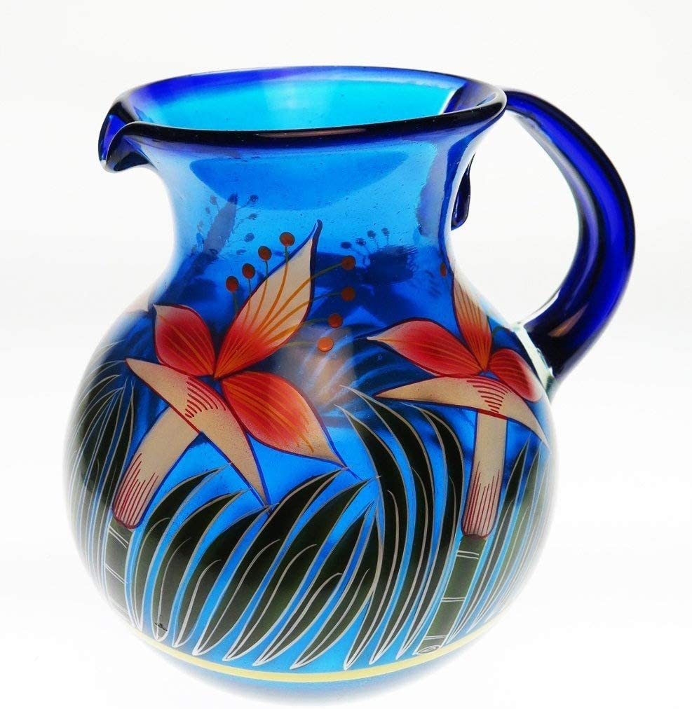 Amazon Com Mexican Glass Bola Pitcher Hand Painted With Orchid Design 128 Ounces Carafes Pitchers