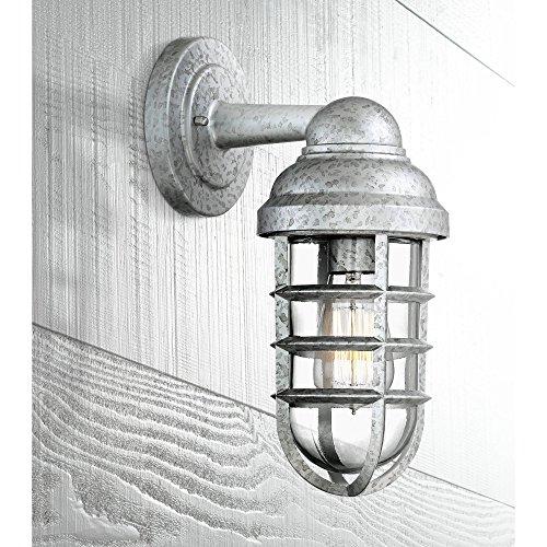 - Marlowe Industrial Farmhouse Outdoor Wall Light Fixture Galvanized Steel 13 1/4